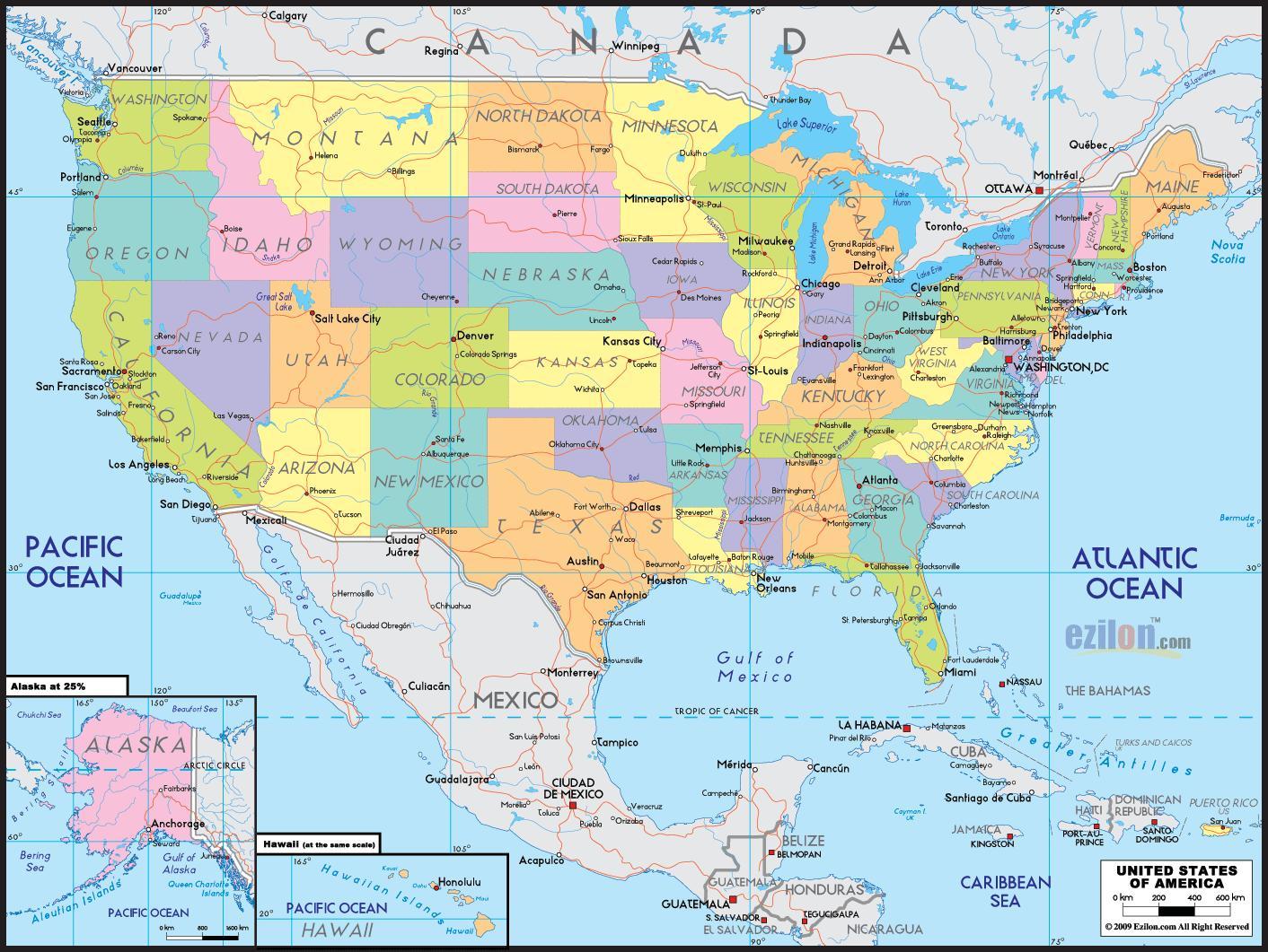 الولايات المتحدة الأمريكية على الخريطة خريطة Os الولايات المتحدة