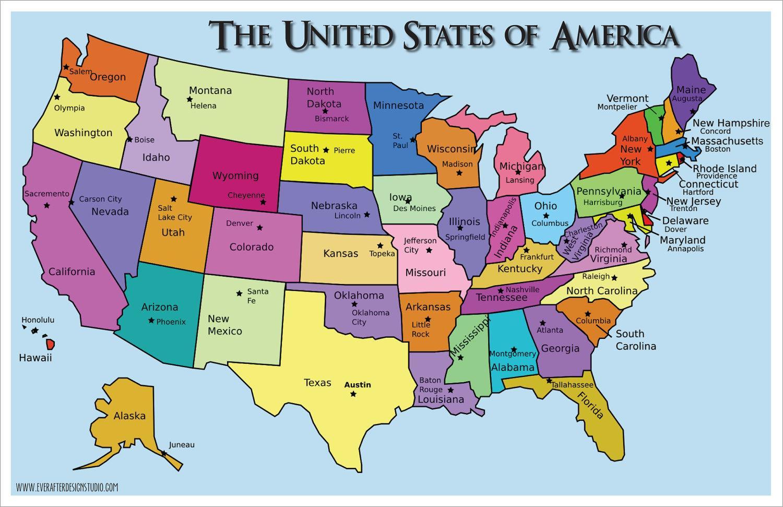 خريطة أمريكا مع الدولة الأسماء خريطة الولايات المتحدة الأمريكية